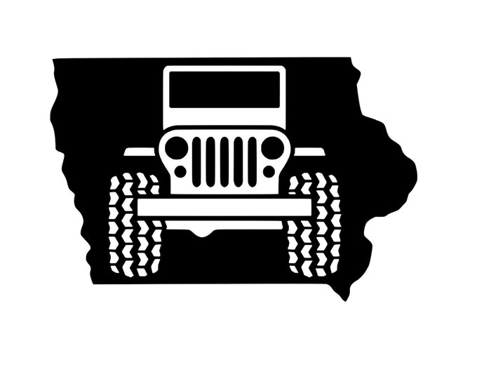 Iowa Jeep - Jeep Life - Jeep Decal - Vinyl Decal - Die Cut Vinyl Decal - 4X4 - Off Road - Military - Auto Decal - Window Decal - Wall Decor