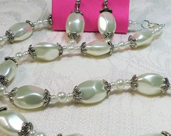 23 in. Beaded Necklace Set white glass pearl, antique silver, lobster claw, post earrings