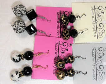 Black and White Glass Beaded Fishhook Earrings - Your Choice!