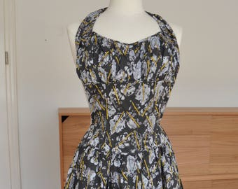 "Abstract Novelty Print 1950s Cotton Dropwaist Halter Dress by ""Kabro of Houston"" XS"