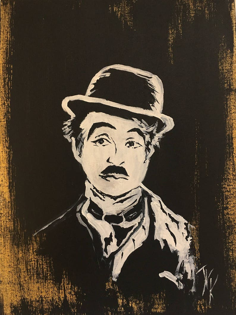 9fcc10ca86b73 Charlie Chaplin Acrylic painting Portrait Chaplin Art Vintage