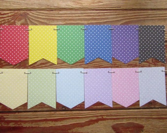 Gingham Banner, Spotty Banner. Rainbow Banner, Pastel Banner, Home decoration, Nursery bunting, Child's bedroom banner, Playroom banner.