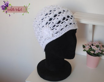 Pure white! Cotton lace - roaring twenties-inspired Hat