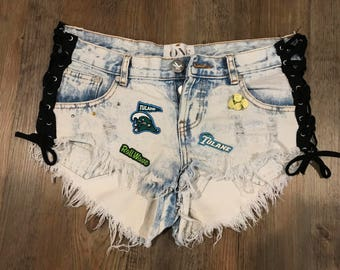 Tulane x One Teaspoon lace-up denim shorts!