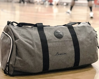611d067873c6 Grey Spacious Zip Fitness Sports Gym Overnight Cloth Organize Travel Duffel  Bag w  Shoe Compartment