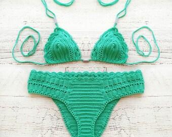 Crochet bikini set in turquoise,Bikini bottom, swimsuit, Crochet bikini top, Crochet bikini bottom, Cute bikini, Gift for her