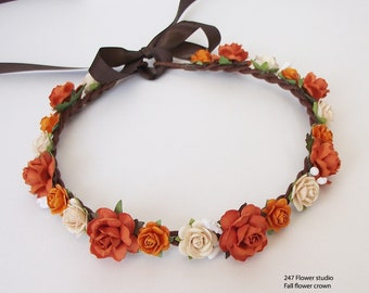 Pearl Orange Flower crown Fall Flower crown Orange tone Bridal flower crown 5fab4bbca64