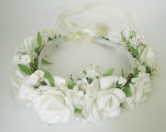 White flower crown etsy bridal white flower crown wedding flower crown flower headband mightylinksfo