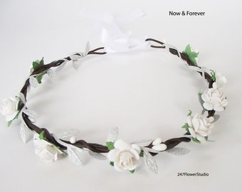 SALE Natural White rose and silver silk leaf flower headband db330a0807d