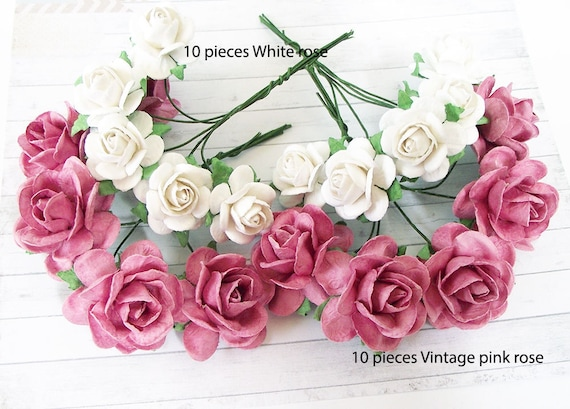 Handmade rose paper flowers vintage pink and white mulberry etsy image 0 mightylinksfo