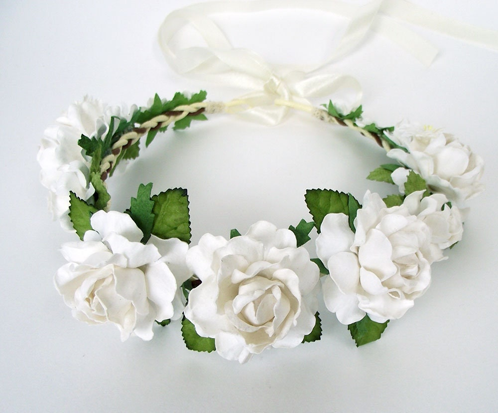 2 pcs white rose flower crown bridal flower crown wedding hair etsy zoom izmirmasajfo