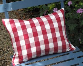 Red and white checked rectangular cushion