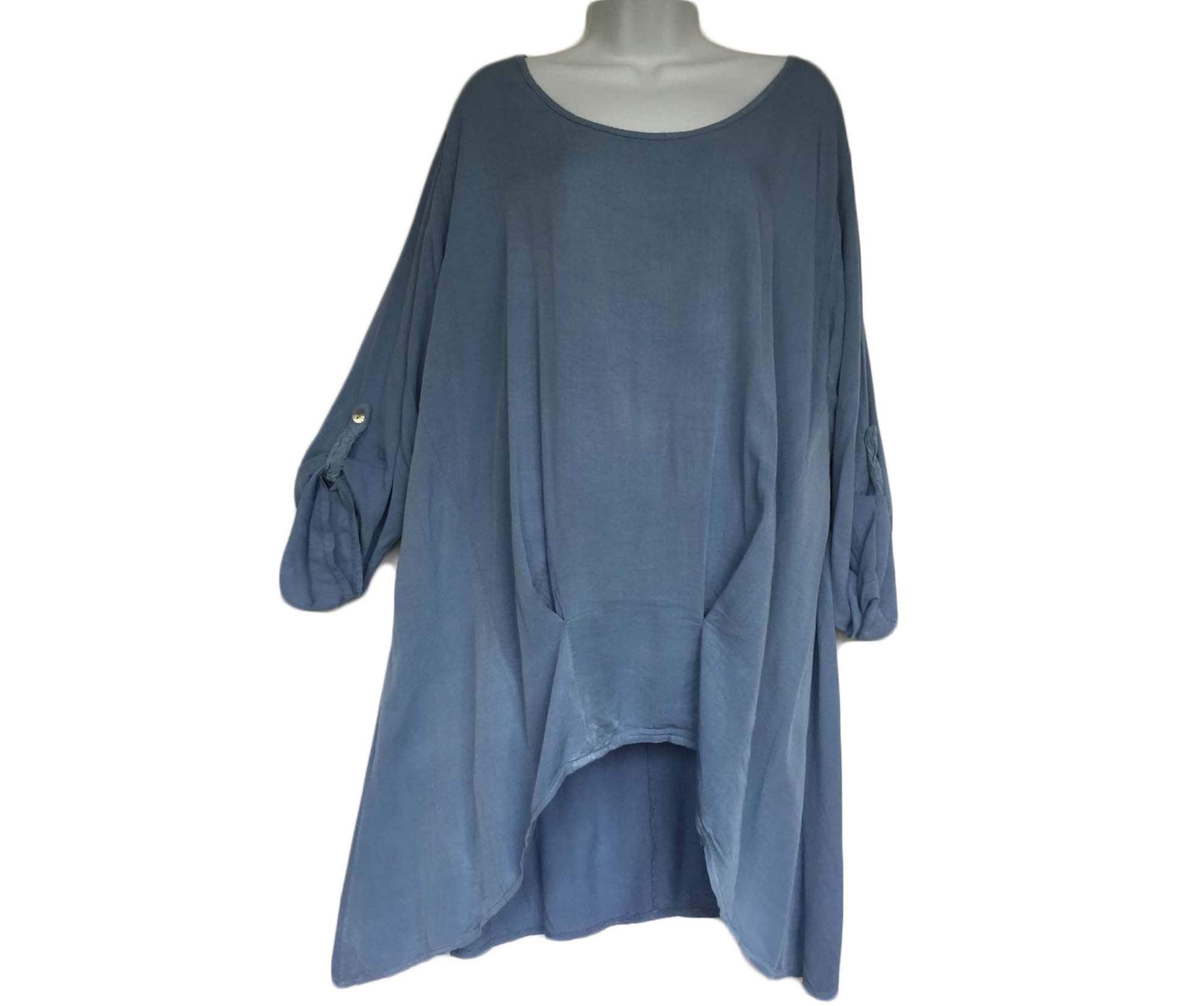 New Womens Italian Quirky Lagenlook Frill Hem Womens Tunic Top Blouse Plus Sizes