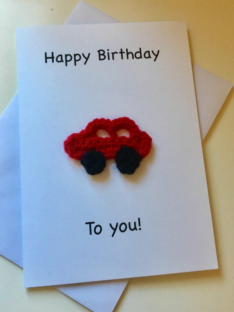 Crochet Car Lover Birthday Card Handmade