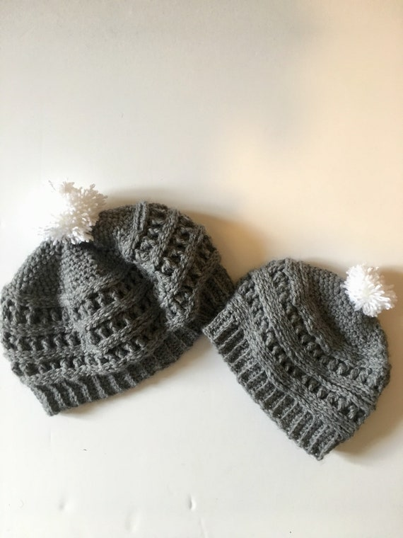 43b879da83a07 Mommy and Me matching Winter Hat with Pom Pom Mother and