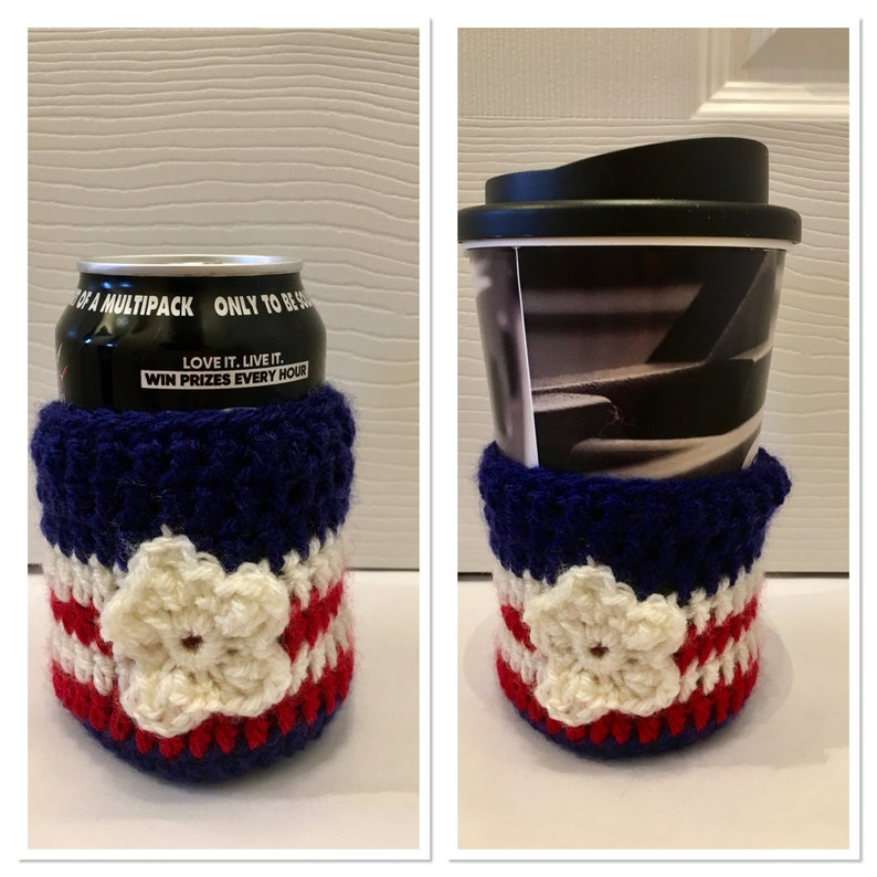 Red White & Blue USA Patriotic Coffee / Can Cozie crochet image 0