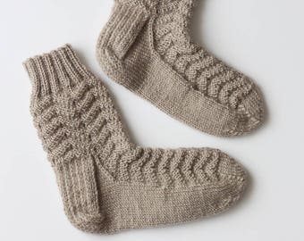 Hand-knitted Wool Socks ZIG ZAG By VidaFelt - Size 37-39 - Free Shipping!