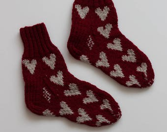 Hand-knitted Wool Socks ME LOVES YOU By VidaFelt - Size 36 - Free Shipping!