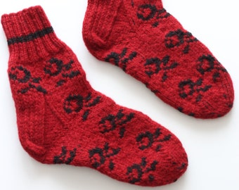 Hand-knitted Wool Socks I LIKE ROSES By VidaFelt - Size 39-41 - Free Shipping!