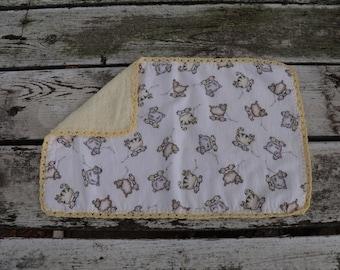 Lamb and Cat Burp Cloth