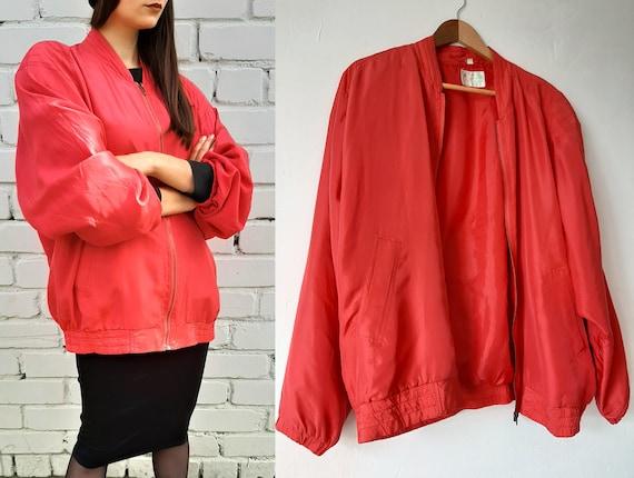 Vintage unisex pink silk bomber jacket, red large