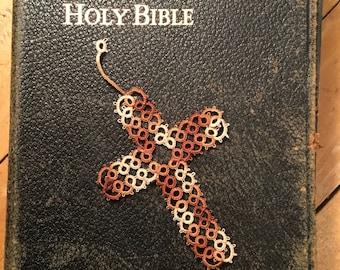 Needle-tatted Cross Bookmark