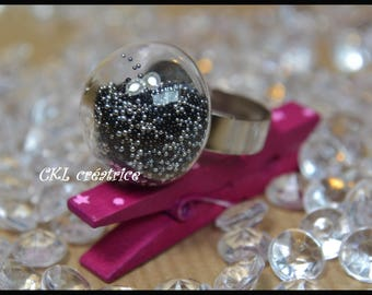 Black, silver and adjustable glass dome ring