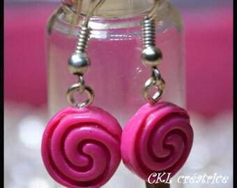 Raspberry earrings polymer clay pink lollipop shape