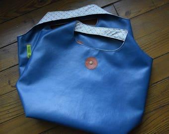 Teal Leather Bag / multi flowers