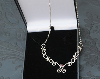 Garnet, Scroll, Filligree, Prom, Wedding, Evening, Prom, Assay Marked Necklace