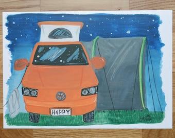 A4 Print- Modern camper van illustration