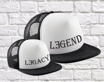 Legend & Legacy Matching Father Son Father Daughter Hats, Fathers Day, Birthday, Christmas Gift