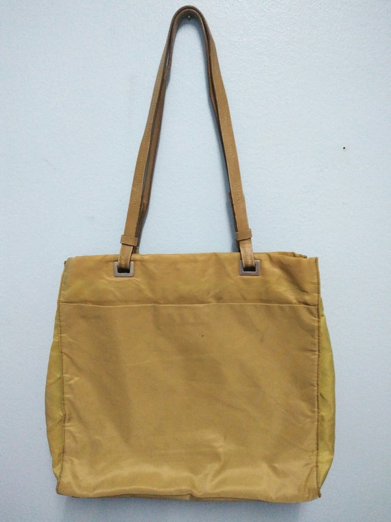 Authentic Prada Nylon Cream Shoulder Bag / Prada B