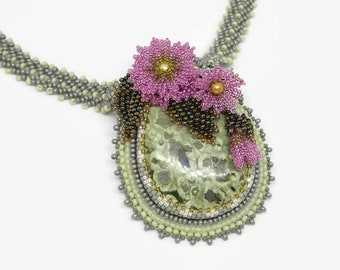 Bead Embroidered Necklace, Flower Necklace, Elegant Necklace, Embroidery Necklace, Mothers Day, Valentines Day, Birthday Gift
