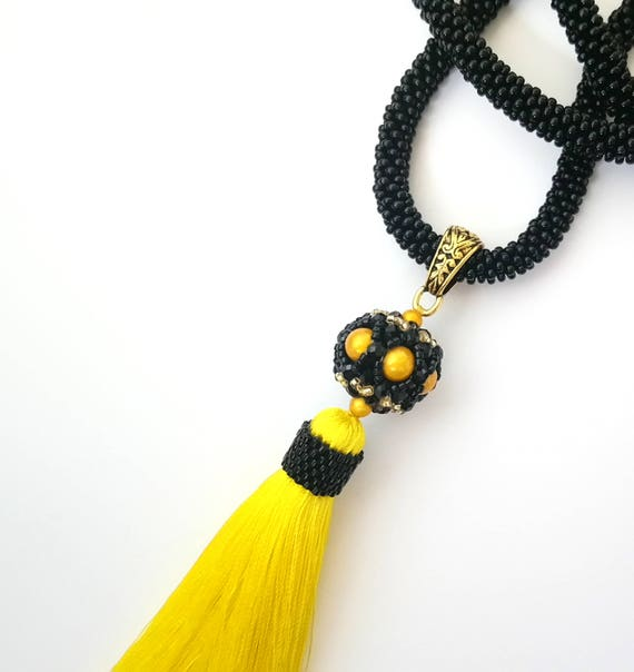 bohemian handmade jewelry YELLOW long tassel fringe beaded crochet summer necklace