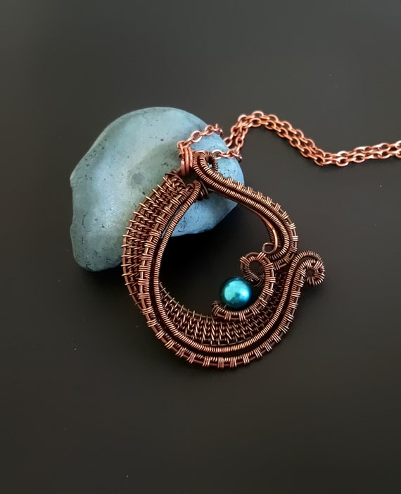 Birthday Gift Wire Necklace Gift For Mom Mothers Day Gift Copper jewelry Wire Wrapped Pendant