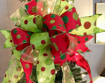 the betty lou hoo christmas tree topper bowwreath bowswag bowred and green christmas bowpolka dot bowbow for wreathsmailbox bow