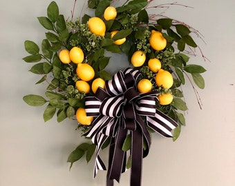 921bcc4a0 The Laurel lemon wreath for front door~Spring wreath for front door~kitchen  wreath~fruit wreath~mothers day gift~housewarming gift with bow
