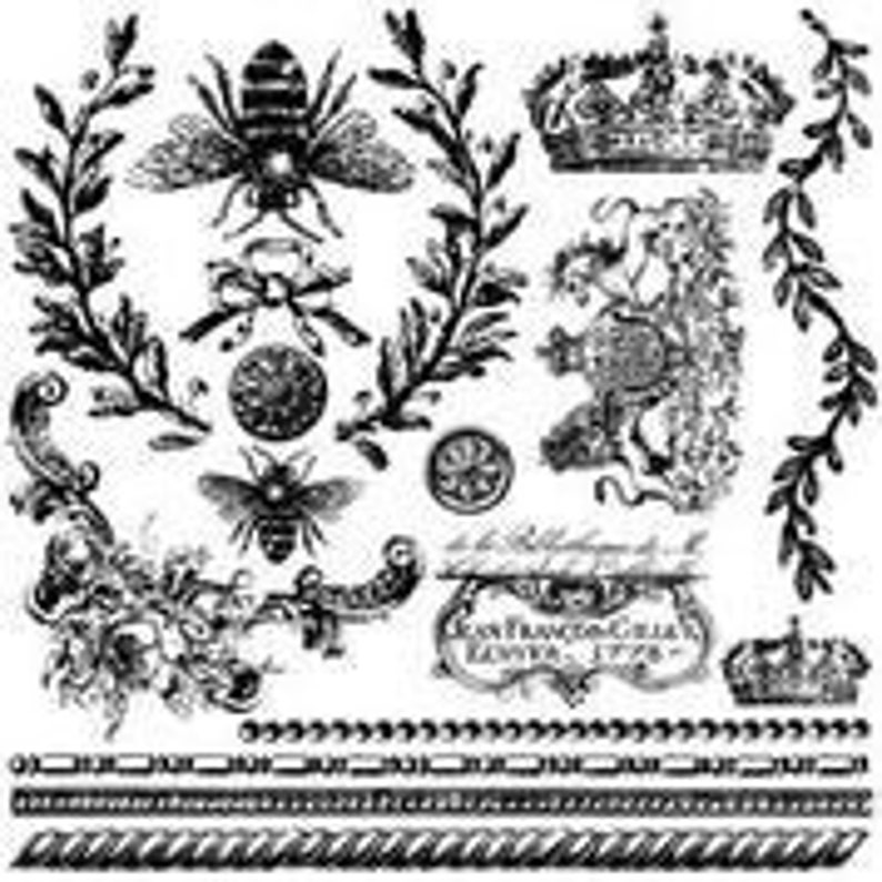 Card embellishment IOD Queen Bee Decor Stamp Stamp for crafts Cottage decor craft supply French country stamp designs