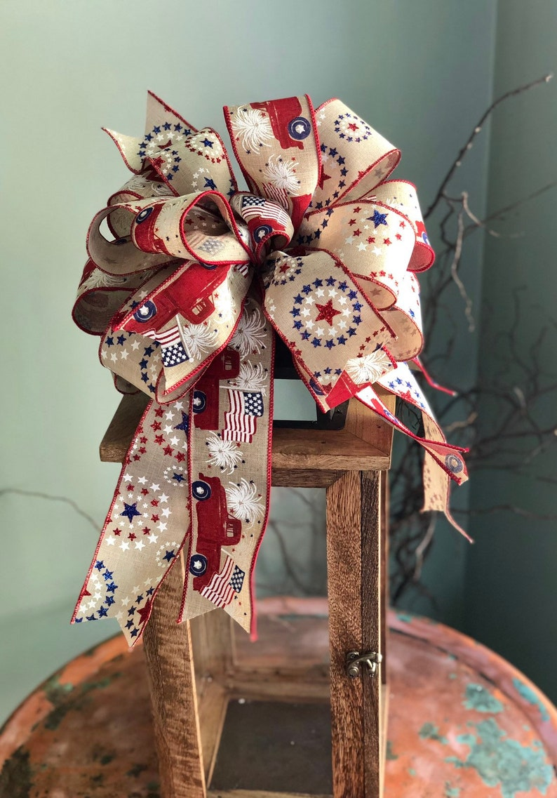 The Barbara Red White /& Blue American Flag Bow For Lanterns and Wreaths~fourth of July decor~Vintage Americana~Patriotic starsandstripes