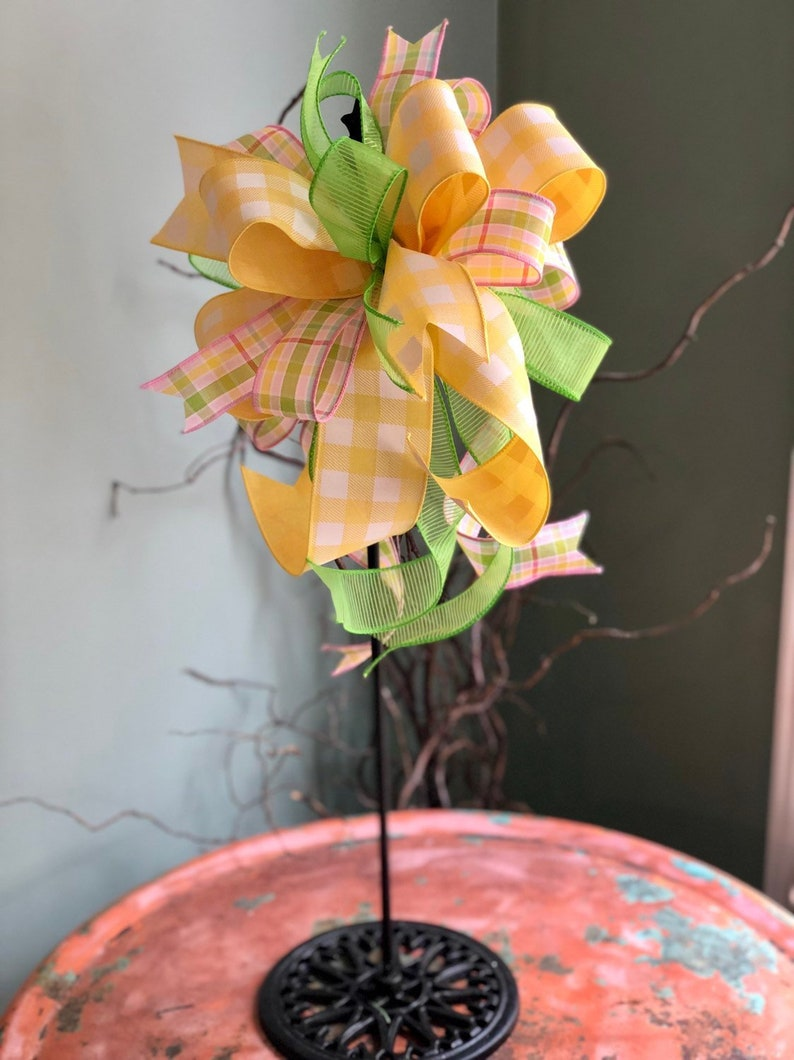 The Piper Yellow Pink Lime Green Bow For Wreaths And Etsy