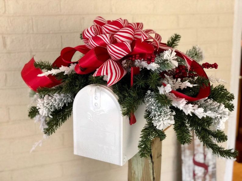 Christmas Mailbox.The Peppermint Patty Red White Stripe Christmas Mailbox Swag Snowy Pine Centerpiece For Table Farmhouse Mantlepiece