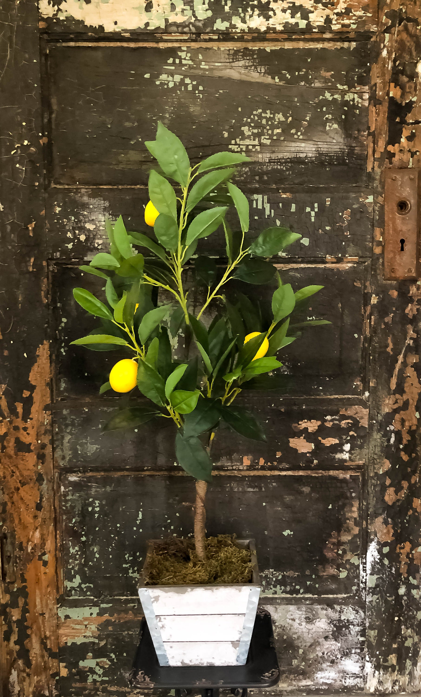 The Laureen Lemon Bush~Tabletop faux lemon tree~Office decor~silk mini  Mantle tree~Home decor~farmhouse decor~large silk flower for table