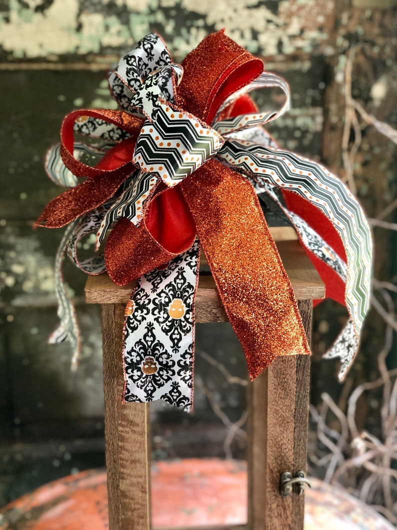 The Azriel Orange Black /& White Skull Halloween Bow for Wreaths and Lanterns~All hallows eve bow~skeleton bow~large bow for mailbox~
