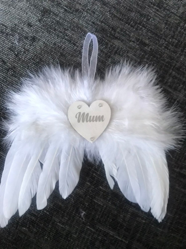 And Feathers Personalised Memorial 8cm Bauble with Angel Mum,Dad,Nan And More