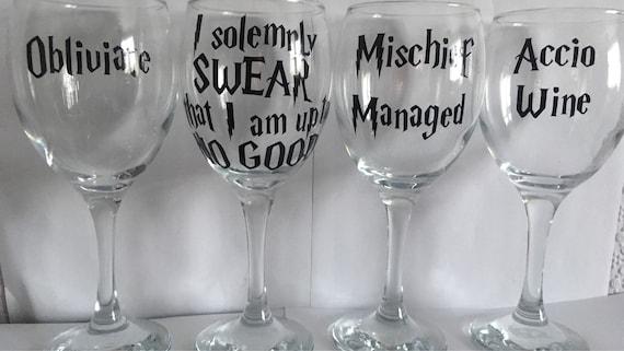 Harry Potter Themed Wine Glasses Set of 4 | Harry potter