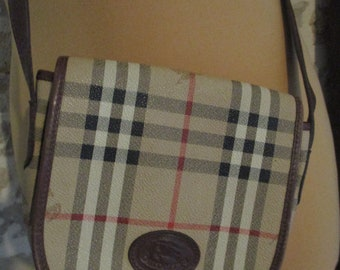 6c7c1e46ca Small handbag, BURBERRYS satchel, vintage large shoulder strap, Tartan and  tawny leather