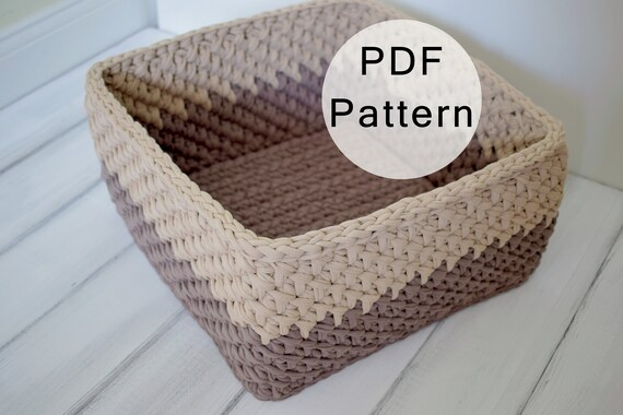 CROCHET PATTERN Crochet Basket Pattern Square Basket From | Etsy