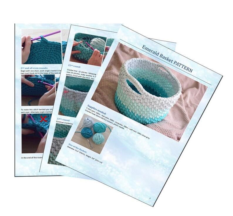 CROCHET PATTERN Crochet Storage Bin Large Basket with Handles Crochet Basket Pattern Big Storage Basket Pattern Tshirt Yarn Basket