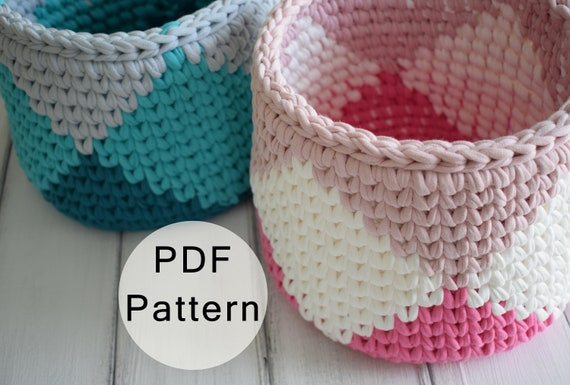 Crochet Pattern Crochet Basket Pattern T Shirt Yarn Basket Etsy
